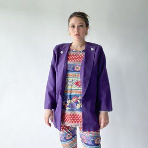 vintage purple blazer with accent buttons
